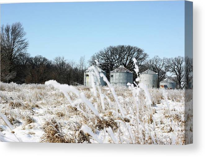 Agriculture Canvas Print featuring the photograph Winter On The Prairie Number 2 by Alan Look