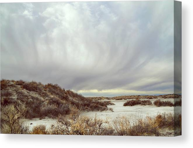 Landscapes Canvas Print featuring the photograph Winter Storm Clouds 2018-2289 by Karen W Meyer