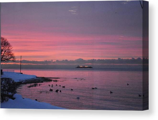 Sea Scape Canvas Print featuring the photograph Winter Sunrise by Joseph Cusano IV