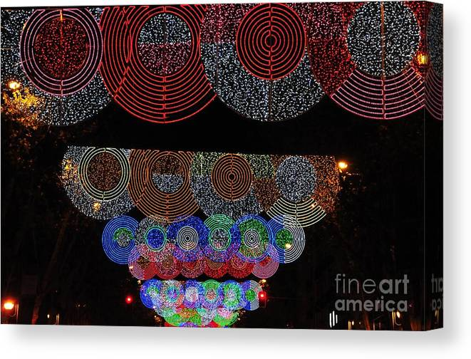 Outdoor Canvas Print featuring the photograph Wonderful And Spectacular Christmas Lighting Decoration In Madrid, Spain by Akshay Thaker