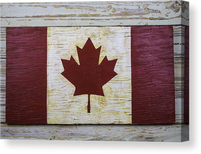 Wooden Canadian Flag Canvas Print