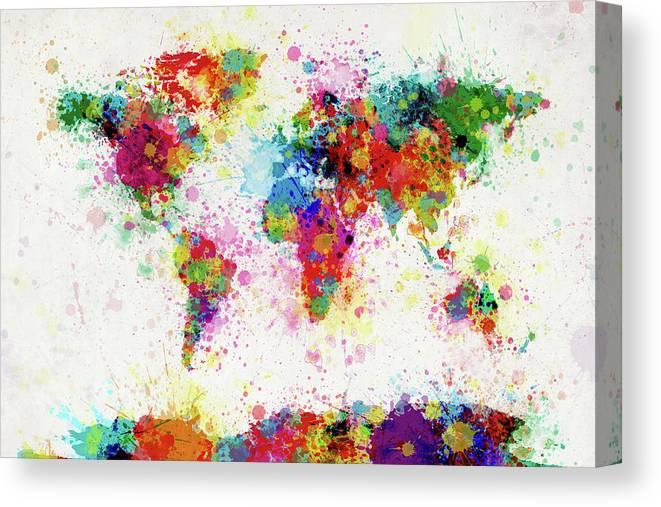 World Map Paint Drop Canvas Print / Canvas Art by Michael Tompsett