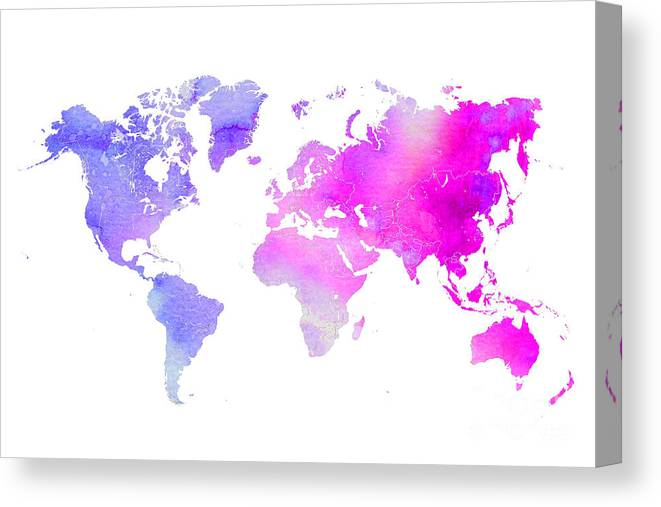 World Canvas Print featuring the digital art World Map Watercolor by Voros Edit