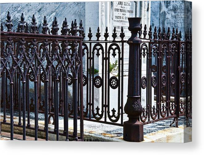 Iron Canvas Print featuring the photograph Wrought Iron Cemetery Fence by Kathleen K Parker