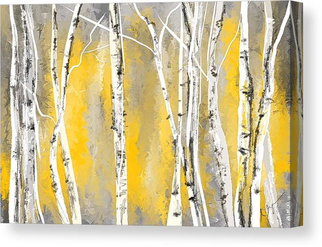 Yellow And Gray Birch Trees Canvas Print Canvas Art By