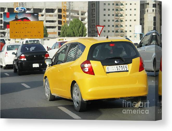 Paintings Canvas Print featuring the painting Yellow Car by Hussein Kefel