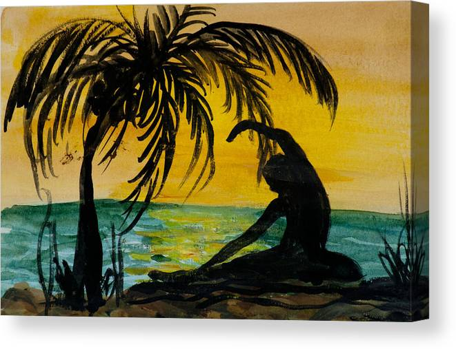 Yoga Seated Side Bend Canvas Print featuring the painting Yoga Seated Side Bend by Donna Walsh