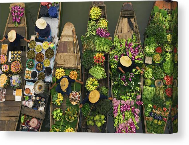 People Canvas Print featuring the photograph A Floating Market On A Canal In 1 by Mint Images - Art Wolfe