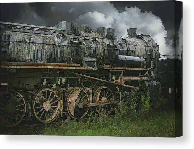 Abstract Canvas Print featuring the photograph Abandoned Steam Locomotive by Robert Kinser