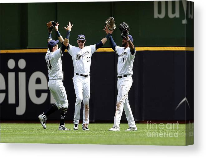 People Canvas Print featuring the photograph Arizona Diamondbacks V Milwaukee Brewers 1 by Dylan Buell