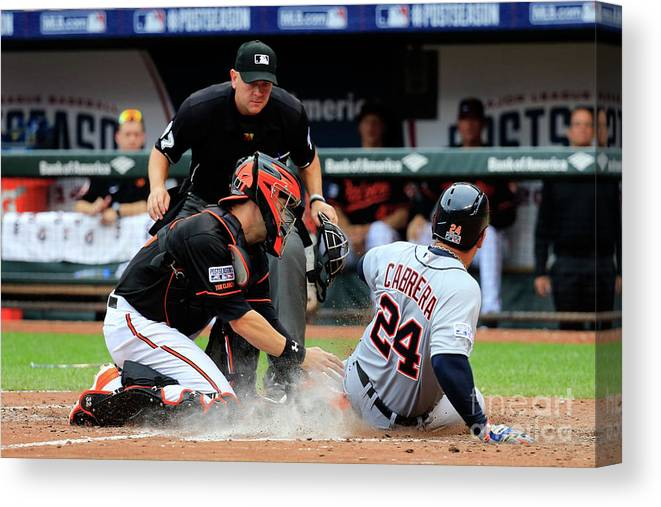Game Two Canvas Print featuring the photograph Division Series - Detroit Tigers V by Rob Carr