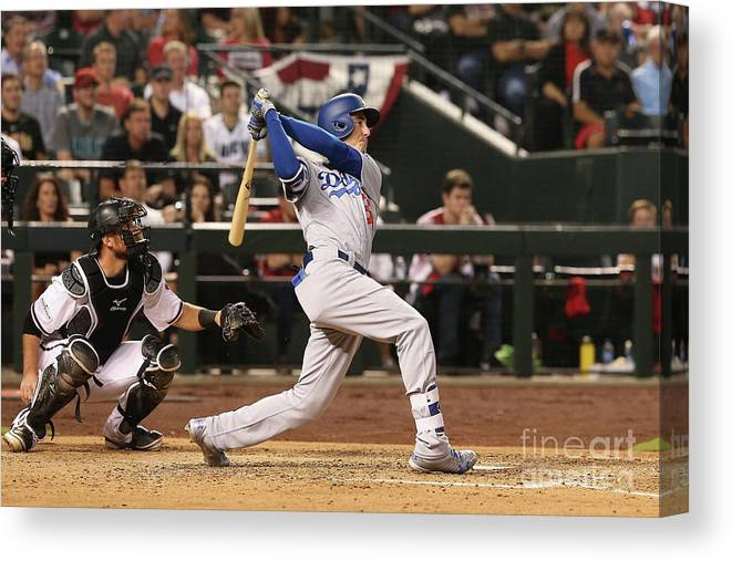 People Canvas Print featuring the photograph Divisional Series - Los Angeles Dodgers 1 by Christian Petersen