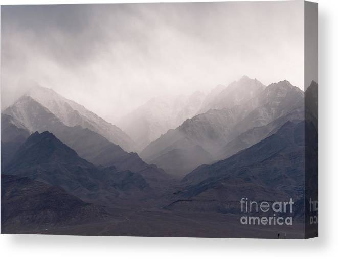 Color Canvas Print featuring the photograph Ladakh Mountains by Sihasakprachum