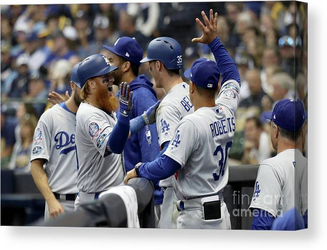 Game Two Canvas Print featuring the photograph League Championship Series - Los 1 by Rob Carr