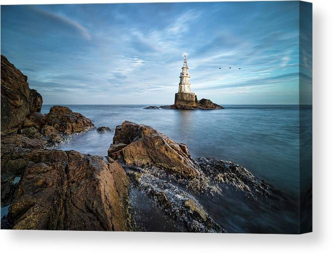 Ahtopol Canvas Print featuring the photograph Lighthouse In Ahtopol, Bulgaria by Milan Ljubisavljevic