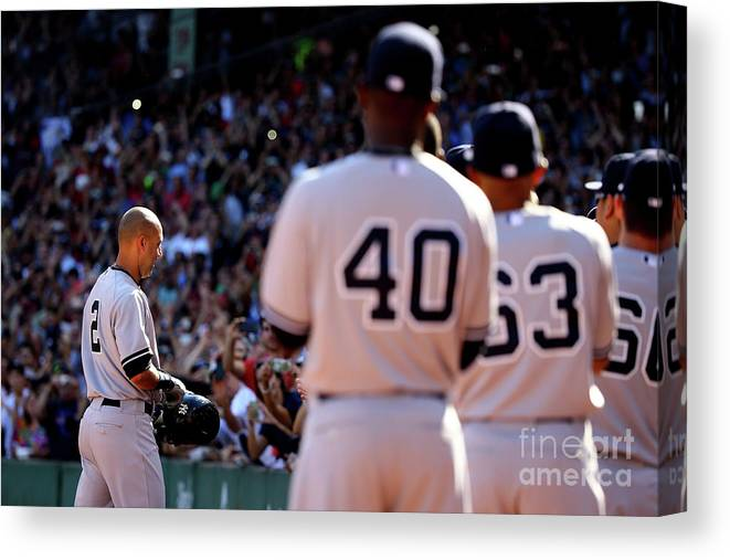 American League Baseball Canvas Print featuring the photograph New York Yankees V Boston Red Sox 1 by Al Bello
