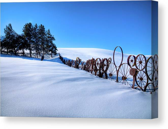 Old Wheels At The Barn Canvas Print featuring the photograph Old Wheels At The Barn by David Patterson