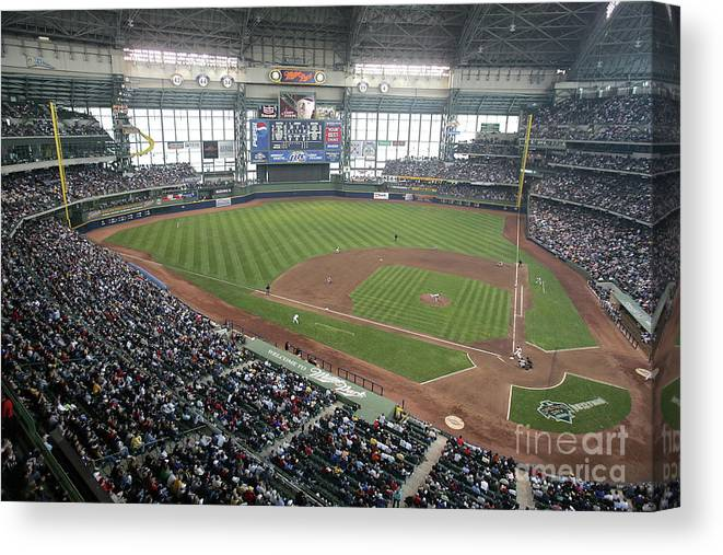 Wisconsin Canvas Print featuring the photograph Pittsburg Pirates V Milwaukee Brewers 1 by Jonathan Daniel