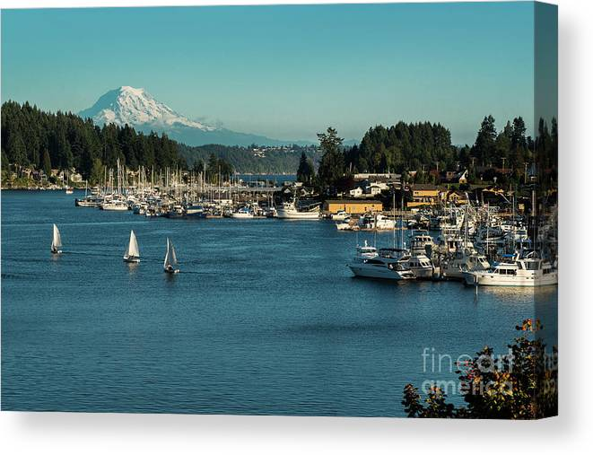 Sailboats At Gig Harbor Marina With Mount Rainier In The Background Canvas Print featuring the photograph Sailboats At Gig Harbor Marina With Mount Rainier In The Background by Yefim Bam