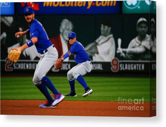 People Canvas Print featuring the photograph Chicago Cubs V St Louis Cardinals 12 by Dilip Vishwanat