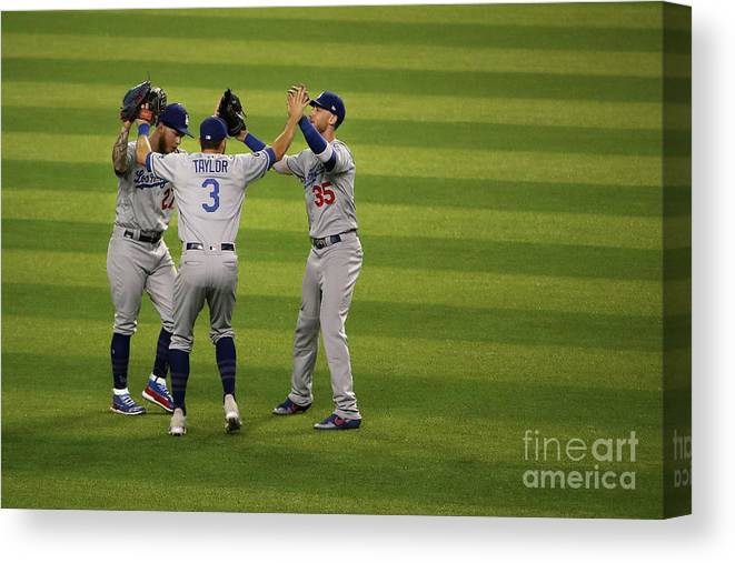 People Canvas Print featuring the photograph Los Angeles Dodgers V Arizona 18 by Christian Petersen