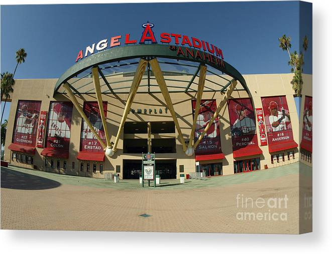 American League Baseball Canvas Print featuring the photograph Angel Stadium Of Anaheim by Doug Benc