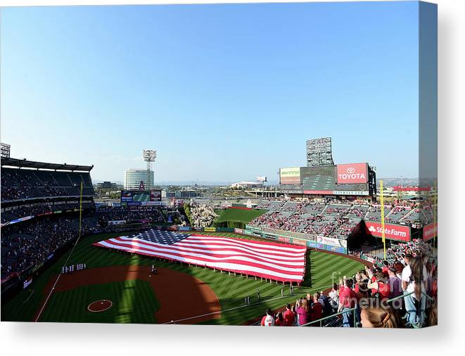 American League Baseball Canvas Print featuring the photograph Detroit Tigers V Los Angeles Angels Of by Harry How