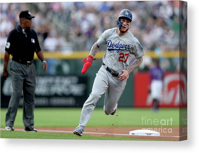 People Canvas Print featuring the photograph Los Angeles Dodgers V Colorado Rockies 2 by Matthew Stockman