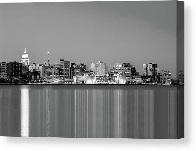 Madison Canvas Print featuring the photograph Madison Skyline In Black And White by Todd Klassy
