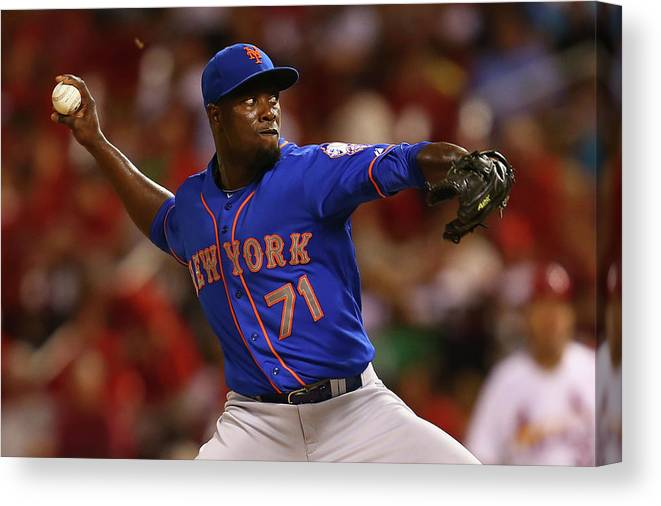 Relief Pitcher Canvas Print featuring the photograph New York Mets V St. Louis Cardinals by Dilip Vishwanat