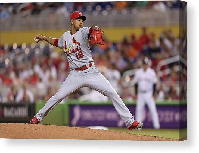 St. Louis Cardinals Canvas Print featuring the photograph St Louis Cardinals V Miami Marlins by Rob Foldy
