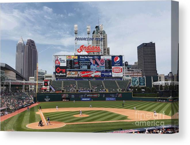 American League Baseball Canvas Print featuring the photograph Texas Rangers V Cleveland Indians 2 by Joe Robbins