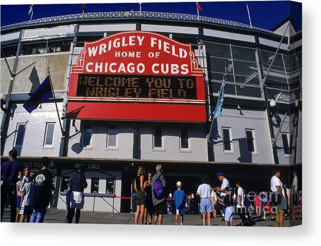National League Baseball Canvas Print featuring the photograph Wrigley Field by Jonathan Daniel