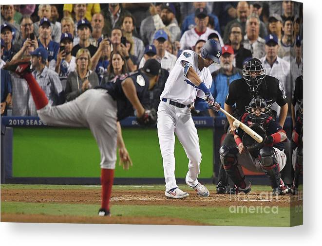 People Canvas Print featuring the photograph World Series - Boston Red Sox V Los 3 by Kevork Djansezian
