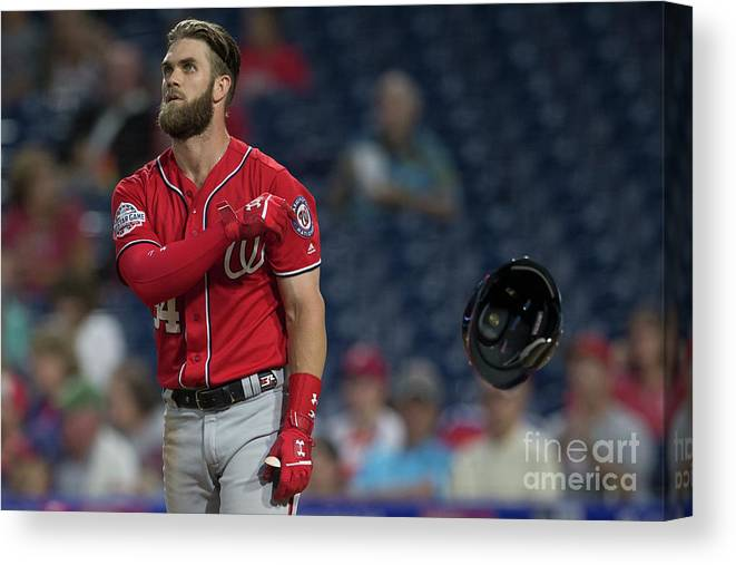 Game Two Canvas Print featuring the photograph Washington Nationals V Philadelphia 4 by Mitchell Leff