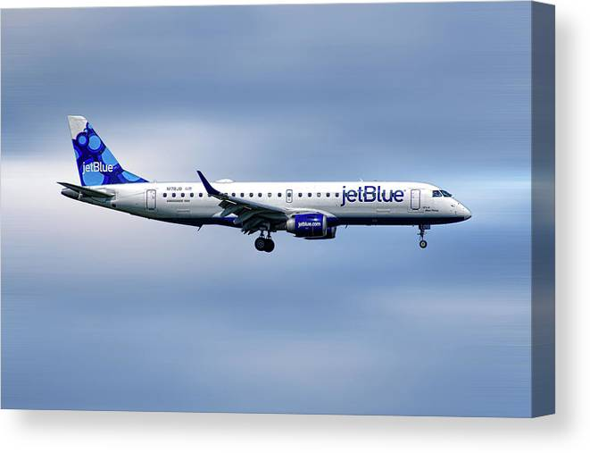 Jetblue Canvas Print featuring the mixed media Jetblue Airways Embraer Erj-190ar by Smart Aviation