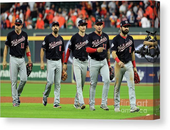 American League Baseball Canvas Print featuring the photograph World Series - Washington Nationals V by Mike Ehrmann