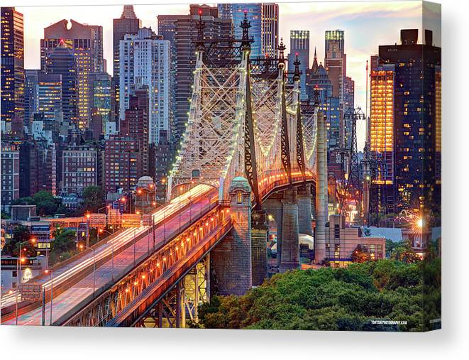 Architectural Column Canvas Print featuring the photograph 59th Street Bridge by Tony Shi Photography