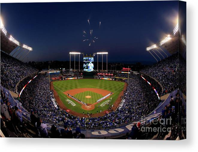 Firework Display Canvas Print featuring the photograph Alcs - Baltimore Orioles V Kansas City by Jamie Squire