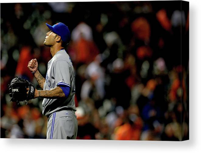 American League Baseball Canvas Print featuring the photograph Toronto Blue Jays V Baltimore Orioles 6 by Patrick Smith