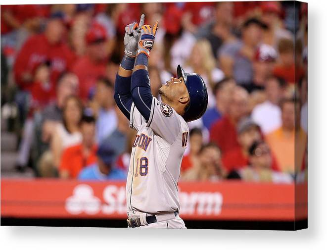 People Canvas Print featuring the photograph Houston Astros V Los Angeles Angels Of 7 by Stephen Dunn