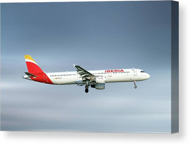 Iberia Canvas Print featuring the mixed media Iberia Airbus A321-212 by Smart Aviation