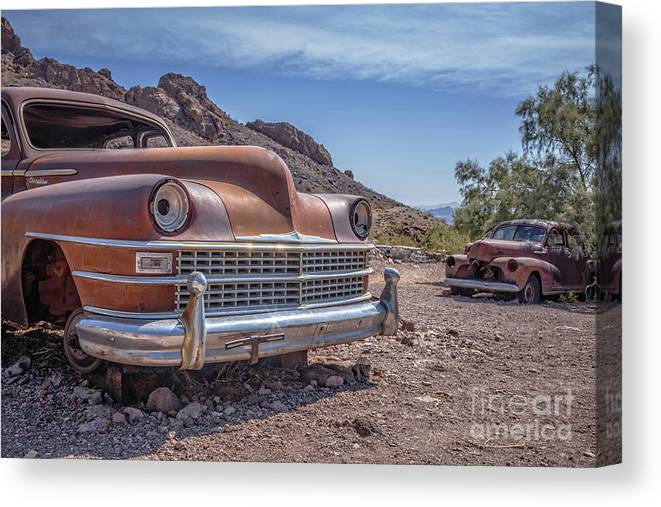 Cars Canvas Print featuring the photograph Abandoned Cars In The Desert by Edward Fielding