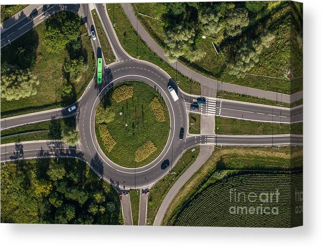 Junction Canvas Print featuring the photograph Aerial View Of Roundabout In Wroclaw by Mariusz Szczygiel