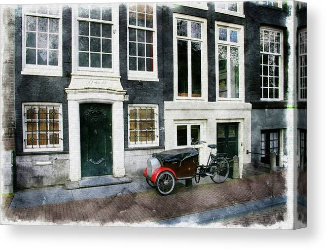 Bike Canvas Print featuring the photograph Amsterdam Bike Sketch by Tom Reynen
