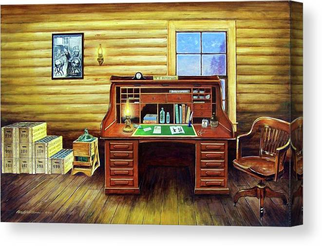 Roll Top Desk Canvas Print featuring the painting Another Day In The Books by Randy Welborn