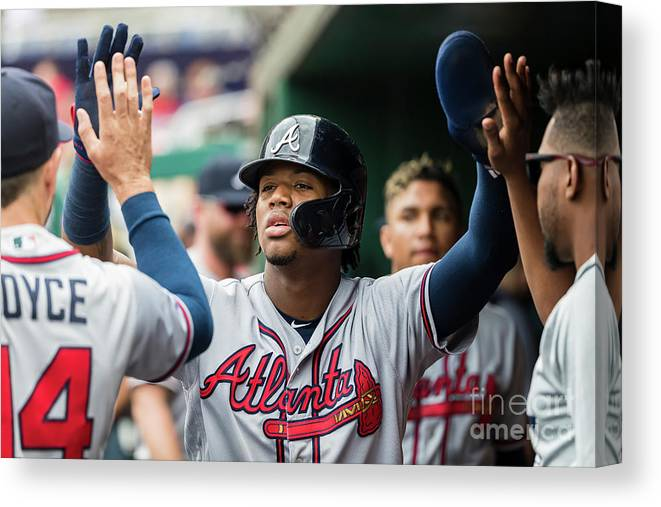 People Canvas Print featuring the photograph Atlanta Braves V Washington Nationals by Scott Taetsch