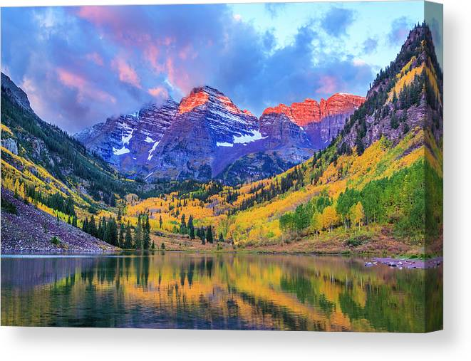 Scenics Canvas Print featuring the photograph Autumn Colors At Maroon Bells And Lake by Dszc