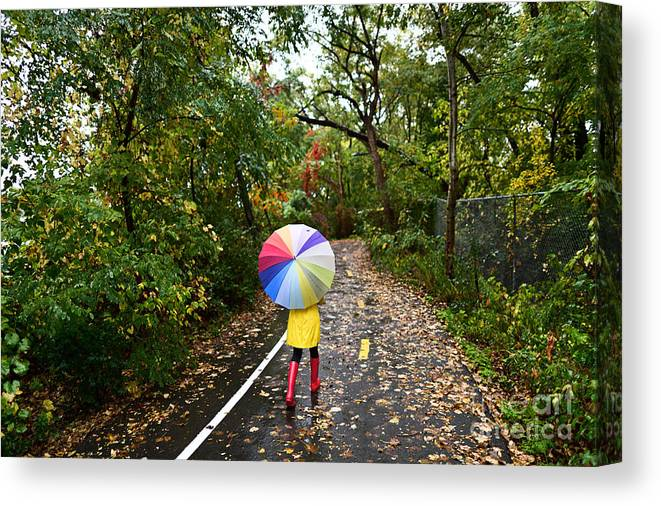 Beauty Canvas Print featuring the photograph Autumn Fall Concept - Woman Walking In by Maridav