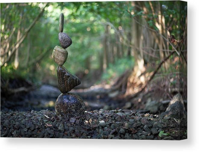 Meditation Zen Yoga Mindfulness Stones Nature Land Art Balancing Sweden Canvas Print featuring the sculpture Balancing Art #84 by Pontus Jansson